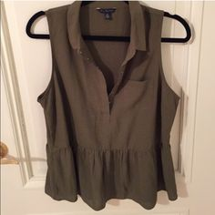 Cute Olive green blouse!  Dark olive green blouse. It's in great condition! I'm selling because it fits me really tight on the bust area. American Eagle Outfitters Tops Blouses
