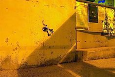 Street art is all about finding the perfect location. These amazing creations include not only location but perfect timing to use lightning and shadows as part of the art.