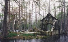 Ruined chapel in the swamp on the grounds of Magnolia Plantation on Ashley Road near Charleston, South Carolina