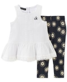 Calvin Klein Baby Girls' 2-Piece White Tunic & Geometric-Print Leggings Set
