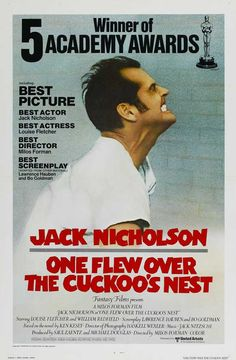 "At the Oscar ceremony, the film won the ""Big Five"" Academy Awards — Best Picture, Best Direction for Miloš Forman, Best Actor for Jack Nicholson, Best Actress for Louise Fletcher and Best Adapted Screenplay for Laurence Hauben and Bo Goldman. Films Cinema, Cinema Posters, Movie Posters, Jack Nicholson, Old Movies, Vintage Movies, Love Movie, Movie Tv, Academy Awards Best Picture"
