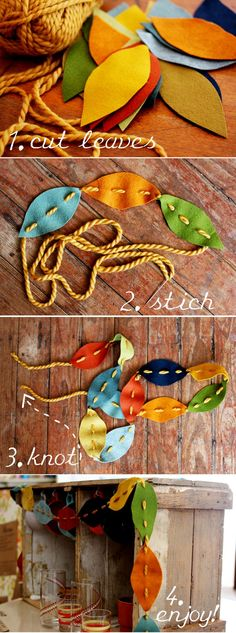 Make a simple autumn leaves garland from scraps of felt!  Good project for a small child who has just graduated to a real needle and thread.