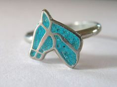 Silver and Turquoise horse ring size 4/5 by TheHobbitsHouse, $3.50