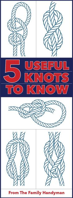 We'll show you how to become a master maker of five different knots. Including the bowline, figure square knot, sheet bend and the double half hitches. Read on to learn how! Paracord Knots, Rope Knots, Macrame Knots, Bowline Knot, Survival Knots, Best Knots, Nautical Knots, The Knot, Paracord Projects