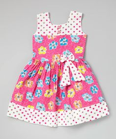 Look what I found on #zulily! Pink Polka Dot Floral Pleated Dress - Toddler & Girls by Sam de Fleur #zulilyfinds