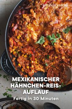 Mexican chicken rice casserole-Mexikanischer Hähnchen-Reis-Auflauf For cold, rainy days this is Mexican # casserole just right! This is just 30 minutes away # Feel court on your table – with tender chicken, corn, rice and lots of cheese! Mexican Chicken And Rice, Chicken Rice Casserole, Casserole Recipes, Mexican Casserole, Healthy Chicken Recipes, Mexican Food Recipes, Crockpot Recipes, Vegetarian Recipes, Ethnic Recipes