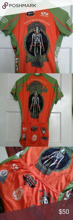 Cycling jersey Death Ride 2008 made in USA I did all 5 passes and purchased this jersey, but I've never used it. Bummer  3 deep back pockets Almost 100% full zip, see last photo No wear or tear or fading Authentic Tour of the California Alps I'm a size Small European Small and it fits me well. USA size XS   MADE by Voler Team apparel Grover beach CA Made in the USA Voler Shirts
