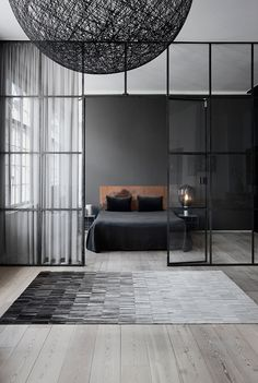 Dark and moody bedroom interior