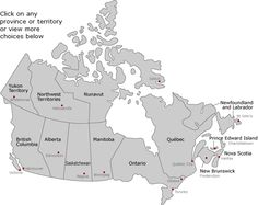 Canadian Regions & Areas - click on region to learn more about it