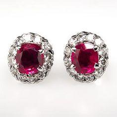 Natural Ruby & Diamond Stud Earrings 14K White Gold