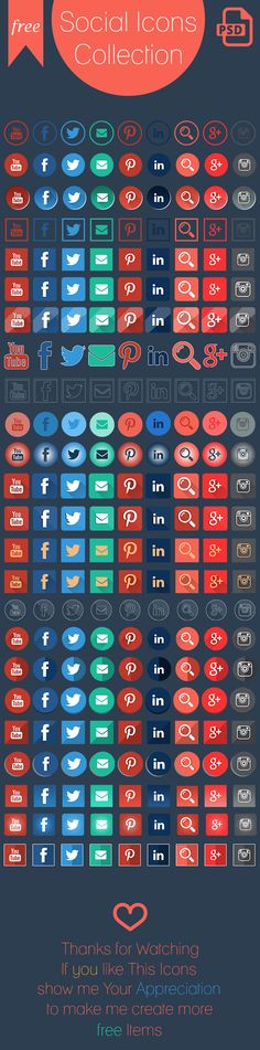 Free Social Icons Collection 24 style on Behance