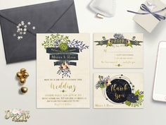Set up a bohemian - rustic tone for your Wedding day with this Printable Wedding Invitation Suite from Digart Designs. As always, its designed in