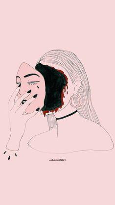 Scary Drawings, Outline Drawings, My Drawings, Scary Art, Tumblr Wallpaper, Cartoon Art, Art Inspo, Line Art, Pop Art