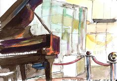 Day 230 - Piano that plays itself Here is the piano in SM Aura mall that plays itself (technically called a Pianola) - today it was roped off in a corner as the over the top Christmas decorations have taken centre stage. I used ink and watercolour for this - couldn't get the ink to make it black enough though! #Art #Drawing #Sketch #Ink #Watercolour #WorldWatercolorGroup #Usk #Uskph #Urbansketching #Urbansketchers #Piano #Mall https://artchapenjoin.wordpress.com/