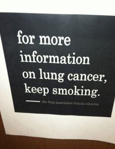 Vuoi avere altre informazioni sul cancro ai polmoni? Continua a fumare e le avrai! (foto)