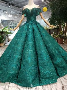 Green Ball Gown Lace Off the Shoulder Wedding Dress With Pearls Green Ball Gown Lace Off the Shoulder Wedding Dress With Pearls Quinceanera Dresses, Prom Dresses, Green Wedding Dresses, Emerald Dresses, Reception Gown, Fantasy Gowns, Green Gown, Disney Princess Dresses, Pearl Dress