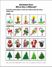 Christmas Rows: Which One is Different? Concept Exercise 4 Pages - pinned by @PediaStaff – Please Visit ht.ly/63sNtfor all our pediatric therapy pins
