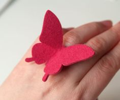 BUTTERFLY RING  100 wool felt  Shock Pink  large by MIXKO on Etsy, $7.00