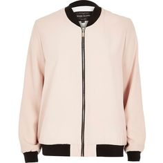 River Island Light pink bomber jacket ($96) ❤ liked on Polyvore featuring outerwear, jackets, tops, coats & jackets, pink, bomber style jacket, woven jacket, zip jacket, long sleeve jacket and zipper jacket