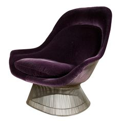 Pair of 1960s Warren Platner chrome wire chairs, newly upholstered in eggplant mohair velvet