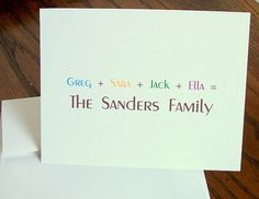 personalized family cards by LemonLizard on Etsy, $12.00