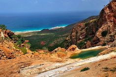 A view over hillsides down to the shore, Socotra Island, Yemen.