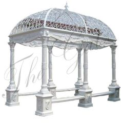 Rectangular Cast Iron Gazebo Including Wrought Iron Dome & Bench Seating in Antiques, Architectural & Garden, Other Antique Architectural   eBay
