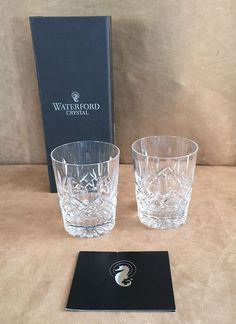 Waterford Lismore Double Old Fashioned crystal Set 2 glasses 5493182 rocks dof #Waterford