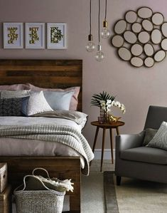 Wood can add natural warmth to a bedroom when used as a headboard.