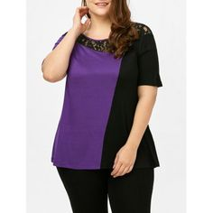 SHARE & Get it FREE   Plus Size Lace Panel Two Tone T-ShirtFor Fashion Lovers only:80,000+ Items·FREE SHIPPING Join Dresslily: Get YOUR $50 NOW!