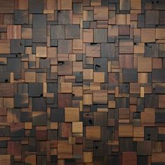 Stacked Square Wood Wall Design #woodwall #walldesign