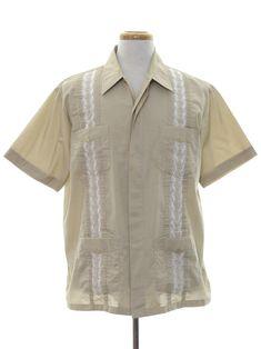 2ed3b91e Vintage 60s Mens Guayabera Shirt - 1960s Pintucked Mexican Wedding ...