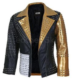 Women Black and Gold Leather Jacket with Cone Spikes - Leather Skin Shop Spiked Leather Jacket, Womens Black Leather Jacket, Studded Jacket, Leather Jackets, Gold Jacket, Leather Skin, Gold Leather, Black Women Fashion, Womens Fashion