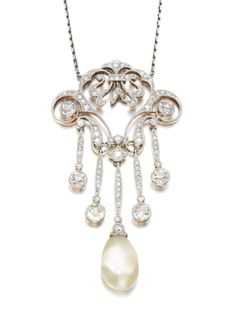 Natural pearl and diamond pendent necklace, early 20th century.  |  © 2013 Sotheby's