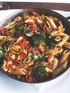 penne pasta, broccoli, cherry tomatoes, red chilies, basil, extra virgin olive oil, salt, pepper
