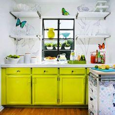 22 Ideas for Styling Open Kitchen Shelves via Brit + Co.