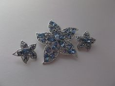 Sarah Coventry Blue Rhinestone Star StarFish Brooch Clip Earrings Set  offered by #rubylane shop #Saltymaggie's Treasures
