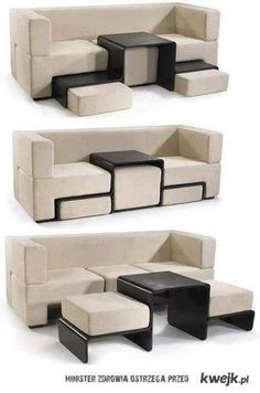 couch with table and storage space- a must for a small living room or if you have kids!