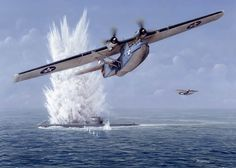 """Cats Have Claws"" - U.S. Navy Consolidated PBY-5A Catalina vs. German type VII U-Boat... illustration by Don Feight"