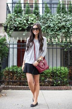 Gray + Skater + Sweater = Fall Style