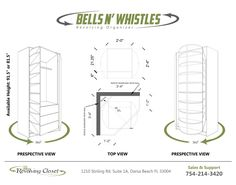 "The ""bells and whistles"" is our latest design, it has Everything. Shelves, Drawers and Hanging Space. It is manually rotates 360 degree wit the push of your fingers. Silent and Smooth, a beautiful addition to your walk-in closet"