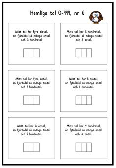 Hemliga tal 6 Math Place Value, Place Values, Preschool Math, Teaching Math, Maths, Teacher Education, School Teacher, 120 Chart, Math Word Problems