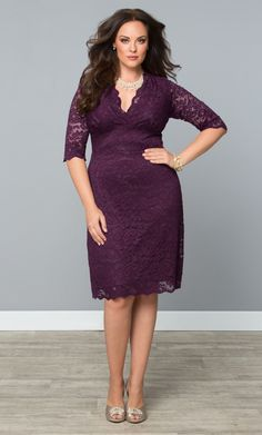 Our plus size Scalloped Boudoir Lace Dress in Piercing Plum is a beautifully…