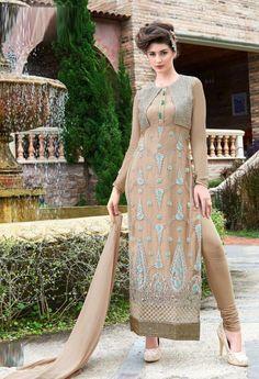 Semi Stitched Beige Georgette Pakistani Suit  #Semi #Stitched #Bottle #Green #Georgette #Straight Cut #Suit #nikvik #usa #designer #australia #canada #freeshipping #Pakistanisuit Price-US$89.10