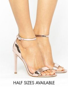 948e476e7a564a ASOS HANG TIME Barely There Heeled Sandals Gold Sandals