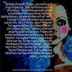 Borderline Personality Disorder - struggles. I am liking this Ana Landa