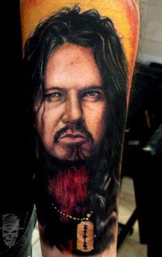 Realistic full colors Dimebag darrell tattoo art by Henry Anglas Padilla Dimebag Darrell, Metal Tattoo, Tribute, Cool Tats, World Tattoo, Ozzy Osbourne, Tattoos Gallery, Hayley Williams, Van Halen