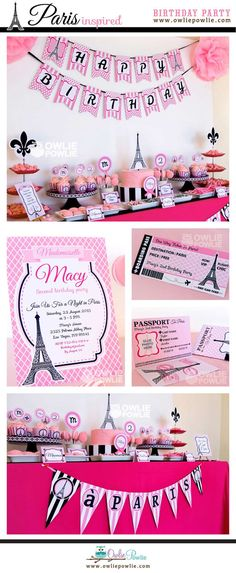 Paris BIRTHDAY Party Printable Package & Invitation INSTANT