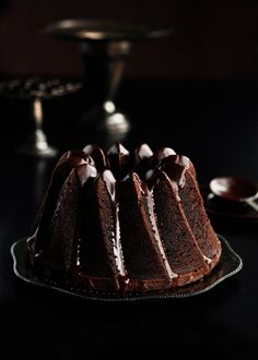 """Chocolate Espresso bundt cake.  Original pinner - """"I just made this for my husband's birthday and it was amazing.  Lazy me didn't go to the store  before launching into cake making so I made several substitutions (olive oil for vegetable oil, milk and white vinegar instead of buttermilk) and it was still fabulous."""""""