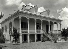 Mount Airy Plantation, St John the Baptist Parrish, Louisiana.  Photo taken in 1938.  The lovely old civil war era mansion was demolished in 1954 to make room for the very unlovely Kaiser Aluminum plant.